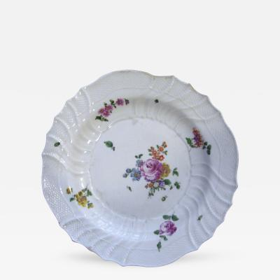 White Plate with a Center Rose and Floral Detailing on the Rim