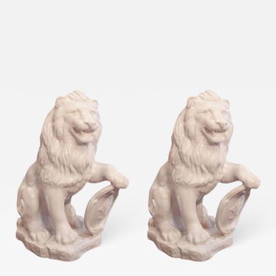White Terra Cotta Lions Pair