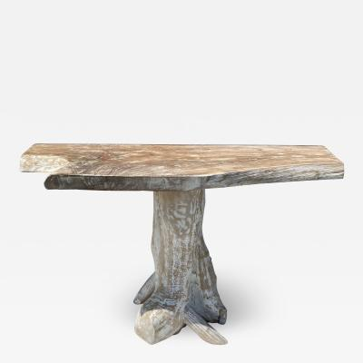 White Wash Teak Root Console table
