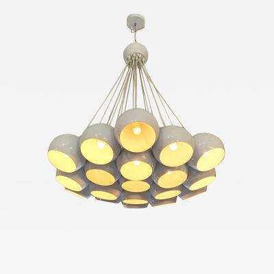 White chandelier with 19 light 1970s