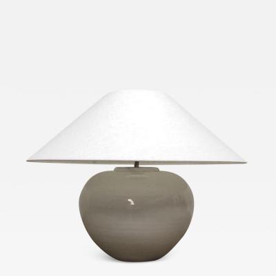White glazed pot lamp