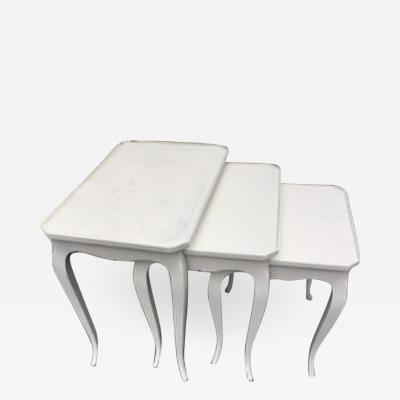 White lacquer french 40s 3 tables