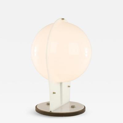 White table lamp made of two molded plastic half spheres 1970s