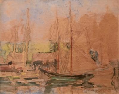 Whitney Myron Hubbard Sailboat in Harbor