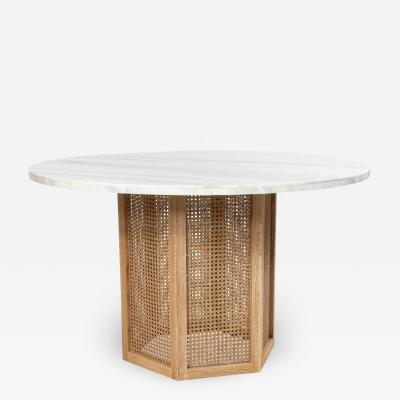 Wicker and White Marble Round Center Tables