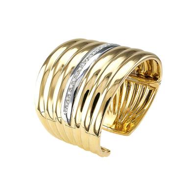Wide Gold and Diamond Hinged Cuff Bracelet