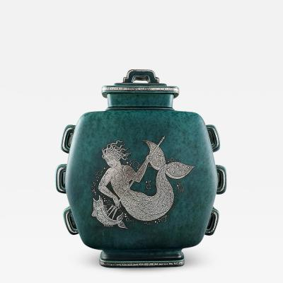 Wilhelm K ge Argenta art deco ceramic lidded jar decorated with mermaid and jelly fish