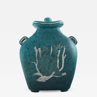 Wilhelm K ge Argenta art deco ceramic lidded jar decorated with nude woman holding bird
