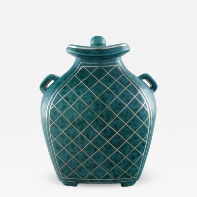 Wilhelm K ge Argenta lidded vase in ceramic decorated with checkers in silver inlaid