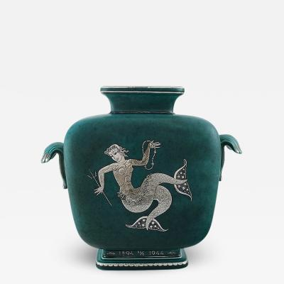 Wilhelm K ge Art Deco Argenta vase in glazed ceramics Decorated with mermaid in silver inlay