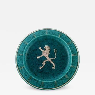 Wilhelm K ge Art deco Argenta dish on feet in ceramics decorated with lion in silver inlaid