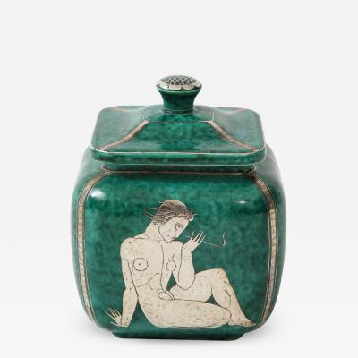 Wilhelm K ge Green glazed ceramic and silver Argenta jar by Wilhelm Kage for Gustavsberg