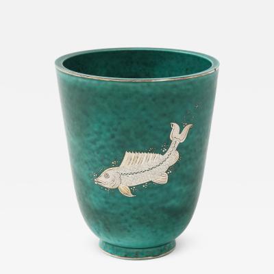 Wilhelm K ge Green glazed ceramic and silver Argenta vase by Wilhelm Kage for Gustavsberg