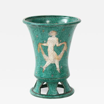 Wilhelm K ge Green glazed ceramic and silver Argenta vase by Wilhelm Kage for Gustavsberg