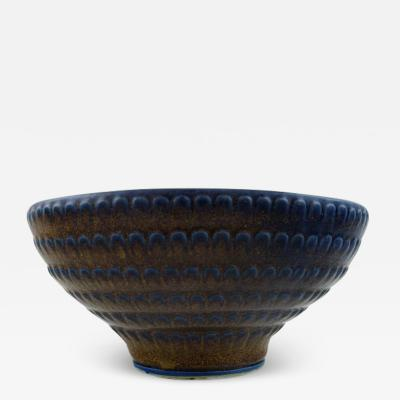 Wilhelm K ge Large Bowl of stoneware decorated with brown and blueish glaze