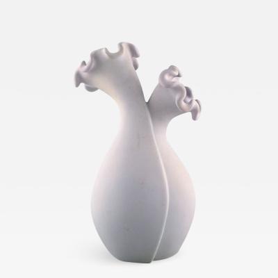 Wilhelm K ge Large Surrea ceramic double vase in white carrara glaze