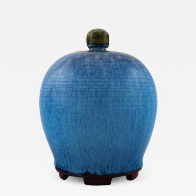 Wilhelm K ge Large unique Art Deco lidded jar on stoneware feet