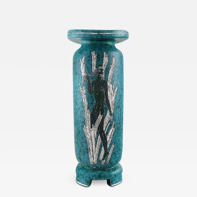 Wilhelm K ge Rare argenta art deco ceramic vase decorated with nude woman in silver inlaid