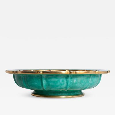 Wilhelm K ge SWEDISH ART DECO BOWL BY WILHELM KAGE FOR GUSTAVSBERG GOLD AND GREEN