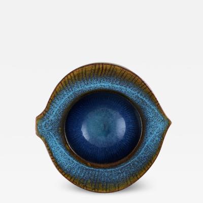Wilhelm K ge Unique art deco bowl of stoneware Glaze in turquoise shades