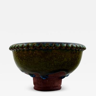Wilhelm K ge Unique bowl of stoneware decorated with blue and green glaze