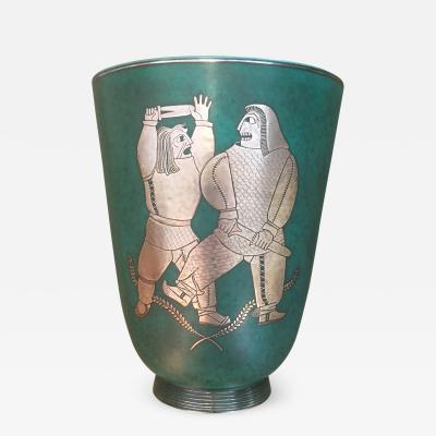 Wilhelm K ge WILHELM KAGE ARGENTA VASE WITH TWO WARRIORS IN SILVER SWEDEN