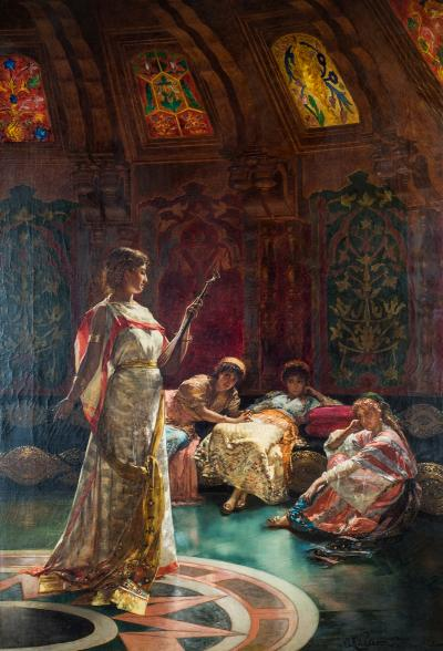 Wilhelm Richtereee Edouard Frederic A Fine Painting of Four Concubines in the Harem