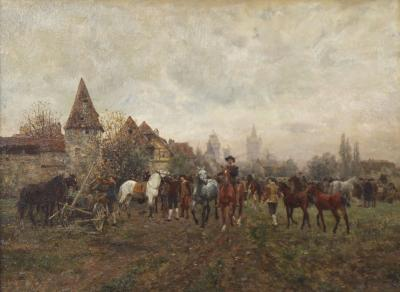Wilhelm Velten The Horse Fair oil on panel Wilhelm Velten Russian German 1847 1929