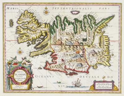 Willem Janszoon Blaeu Blaeus classic 17th century map of Iceland
