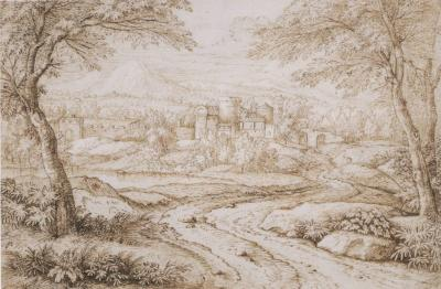 Willem Von Neienlandt II Landscape with Castellated Village in Background