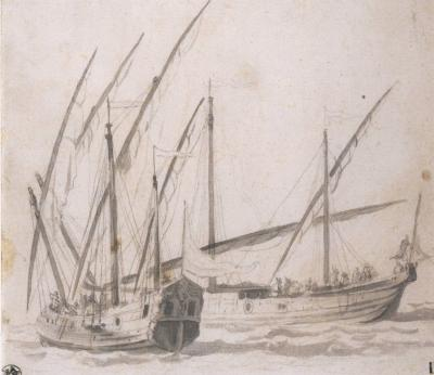 Willem van de Velde Two Masted Ships at Sea