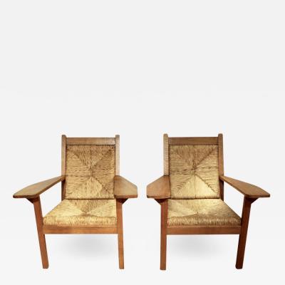 Willi Ohler Easy Chairs in Oak Rush 1920s