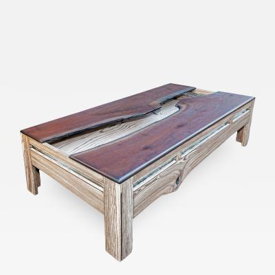 William Alburger A Crack in Time Bespoke Coffee Table Mixed Media Wood Eco Sculpture