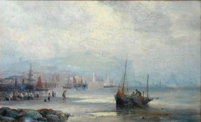 William Anslow Thornley Fishermen at Low Tide Oil Painting by William Thornley Signed