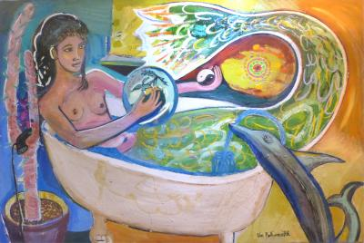 William Avrum Rabinovitch Monumental Abstract by William Rabinovitch Titled Mermaid and Dolphin