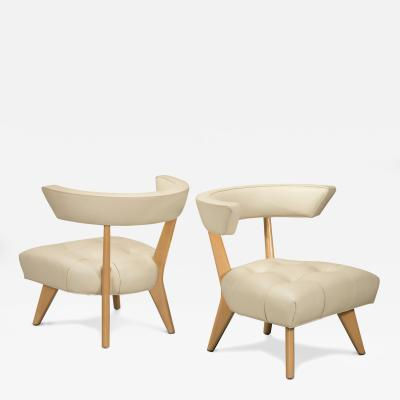 William Billy Haines A Pair of Blond Glazed Wood and Ivory Leather Upholstered Hostess Chairs