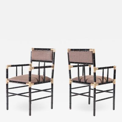 William Billy Haines A pair of brass mounted open armchairs in the manner of Billy Haines circa 1950