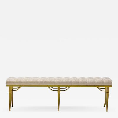 William Billy Haines Billy Haines Brass Klismos Leg Bench with Tufted Ivory Upholstery circa 1960