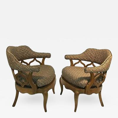 William Billy Haines Fabulous Pair of Sculptural Lounge Chairs in the manner of WIlliam Billy Haines