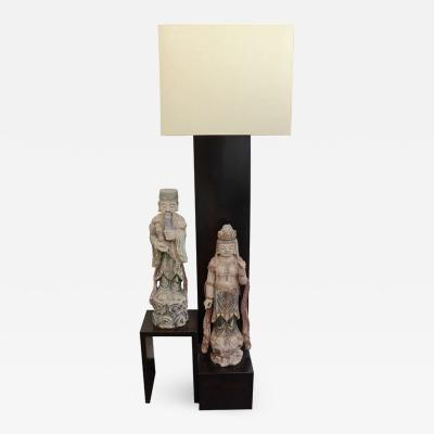William Billy Haines Floor Lamp with Oriental Statues Attributed to Billy Haines