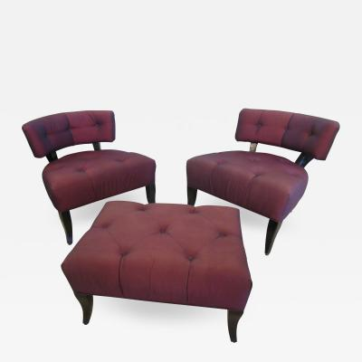 William Billy Haines Pair of American Modern Klismos Slipper Chairs and Ottoman Billy Haines 1950s