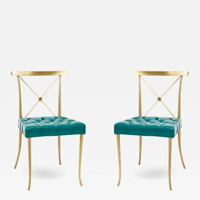 William Billy Haines Pair of Billy Haines Brass Side Chairs with Original Tufted Turquoise Leather