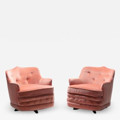 William Billy Haines Pair of Moroccan Modern Hollywood Regency Swivel Chairs in Pink Velvet