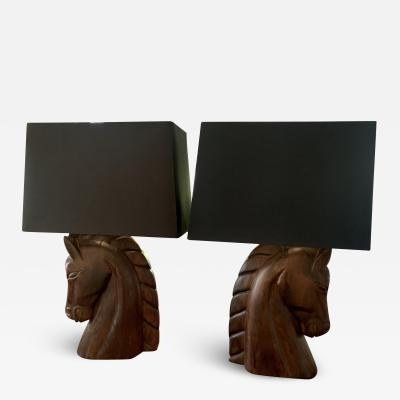 William Billy Haines Pair of William Billy Haines Horse Head Lamps