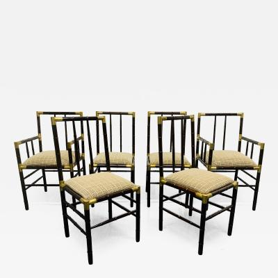 William Billy Haines Set of 6 Billy Haines Faux Bamboo Dining Chairs