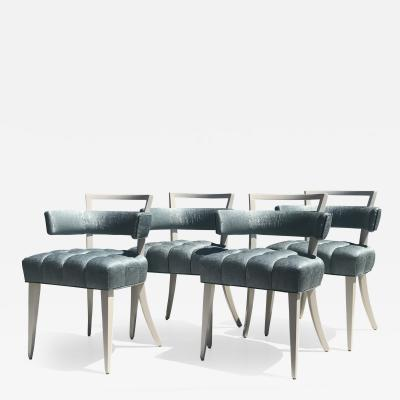 William Billy Haines Set of Four Billy Haines attributed Biscuit Tufted Dining or Side Chairs