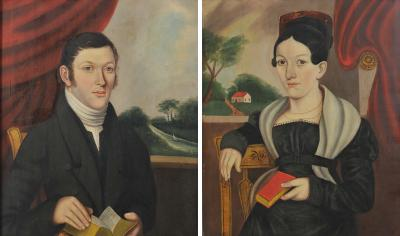 William Bonnell Rare Pair of Portraits Husband and Wife
