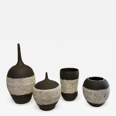 William Coggin Black and White Ceramic Vessels by William Coggin