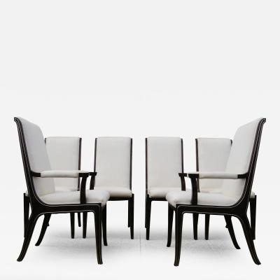 William Doezema Set of Six Amboyna Wood Dining Chairs by William Doezema for Mastercraft