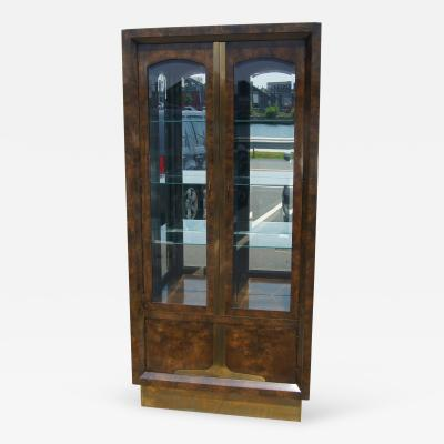 William Doezema Tall Amboyna Wood and Brass Cabinet by William Doezema for Mastercraft